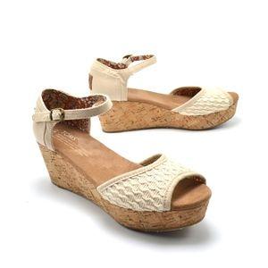 TOMS Women's Wedges Sz 6.5 Ankle Strap Peep Toe